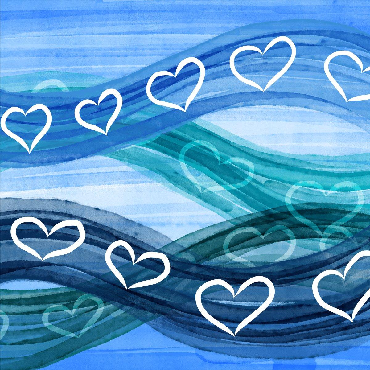 Hearts flowing across blue waves