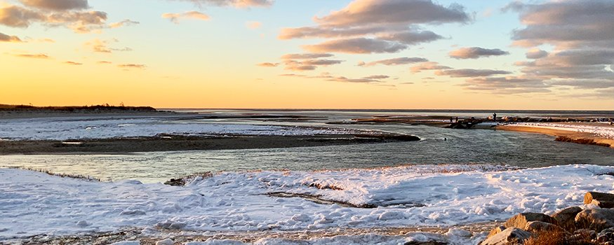 Cape Cod Bay with snow
