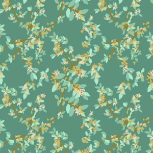 Warming Honeysuckle fabric design from Cape Cod Spring Warming Collection / Christine Martell