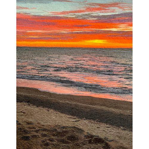 Stitch Panel⎥Thread Art Painting⎥Cape Cod Bay Waterglow⎥Christine Martell