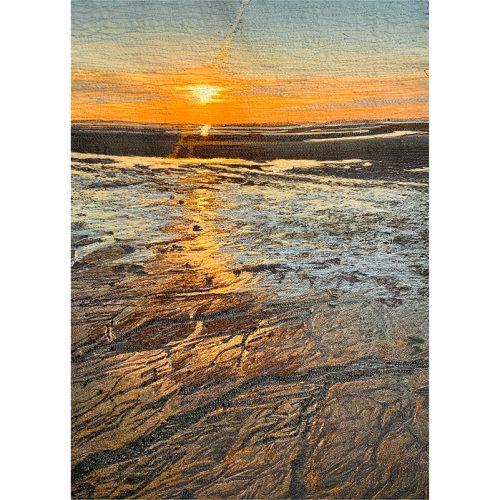 Fine Art Thread Painting⎥Stitch Panel⎥Sunset Across the Flats Cape Cod Sunset⎥Christine Martell