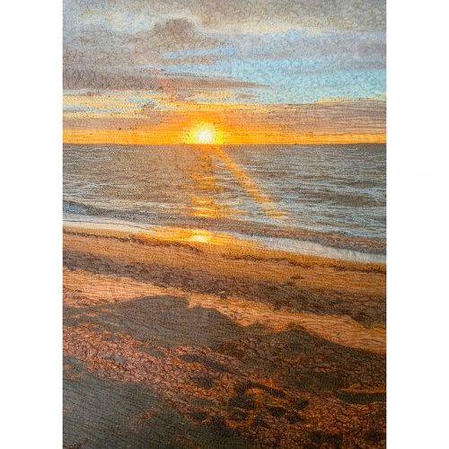 Stitch Panel⎥Fine Art Thread Painting⎥Cape Cod Bay Sunstreak⎥Christine Martell