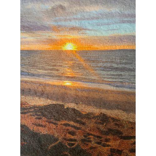 Stitch Panel⎥Thread Art Painting⎥Cape Cod Bay Sunstreak⎥Christine Martell